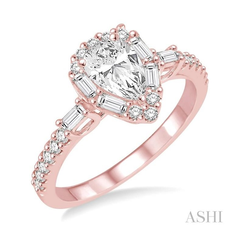 ASHI pear shape diamond engagement ring