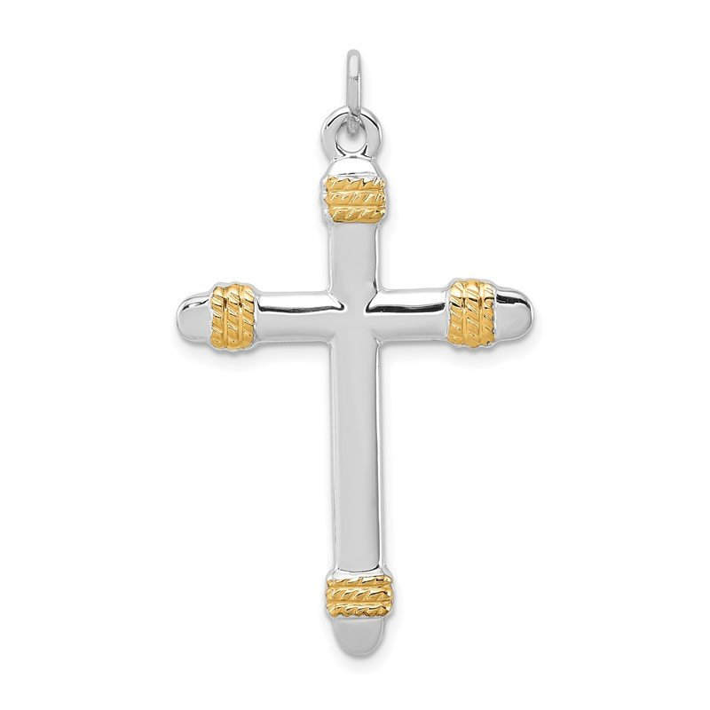 Quality Gold Sterling Silver Rhodium-plated & 18k Gold-plated Rope Cross Pendant