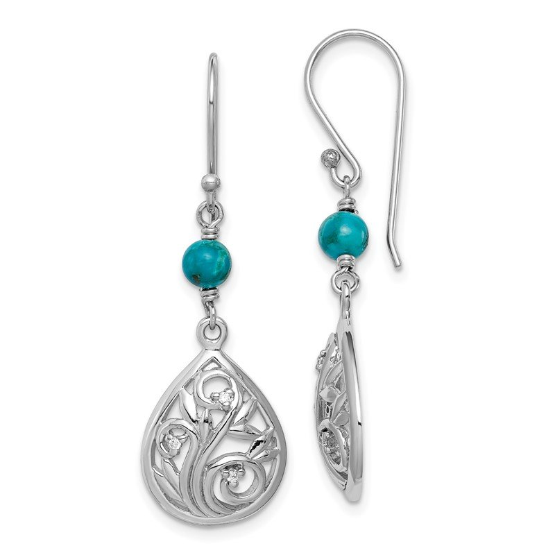 Quality Gold Sterling Silver Rhodium-plated Compressed Turquoise/CZ Dangle Earrings