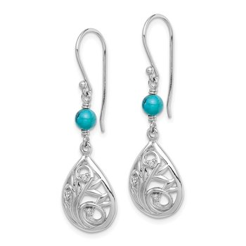 Sterling Silver Rhodium-plated Compressed Turquoise/CZ Dangle Earrings
