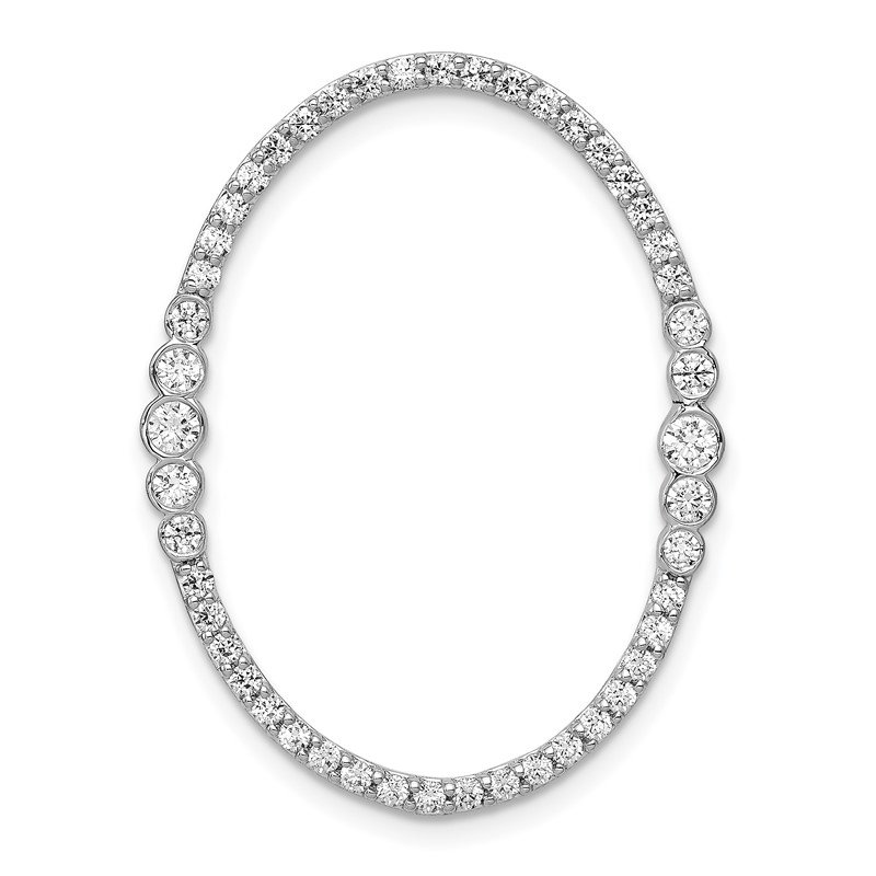 Quality Gold 14k White Gold Diamond Oval Chain Slide Pendant