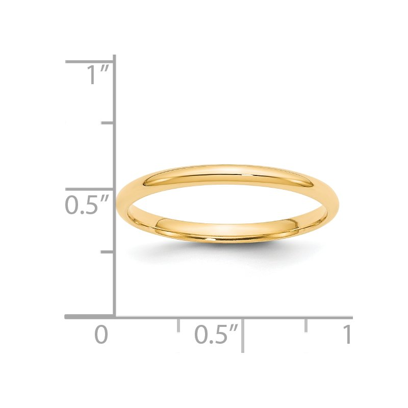 Quality Gold 14KY 2mm LTW Comfort Fit Band Size 10