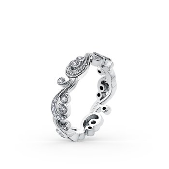 Lace Milgrain Diamond Swirl Wedding Band