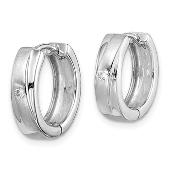 Sterling Silver Rhodium Plated Brushed/Polished CZ Hoop Earrings