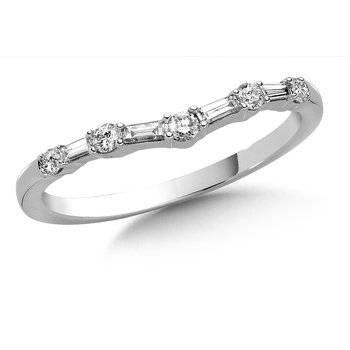 Curved Round and Baguette cut Diamond Wedding Band 14k White Gold (1/4ct. tw.)