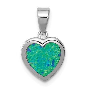 Sterling Silver Rhodium-plated Synthetic Opal Polished Heart Pendant