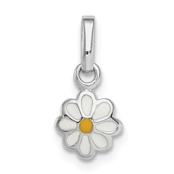 Sterling Silver RH Plated Child's White & Yellow Enamel Daisy Pendant