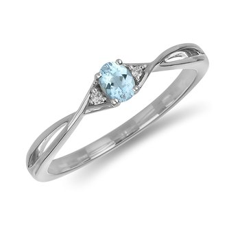 10K WG and diamond and Aquamarine infinity style birthstone ring