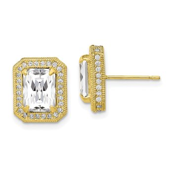 10K Tiara Collection Polished CZ Earrings