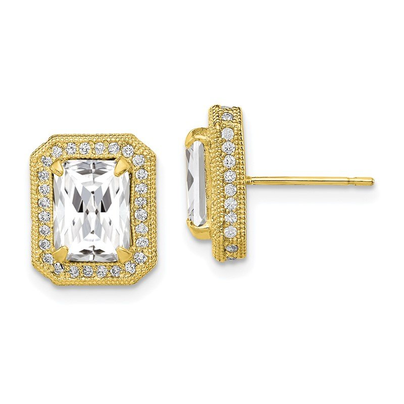 Quality Gold 10K Tiara Collection Polished CZ Earrings