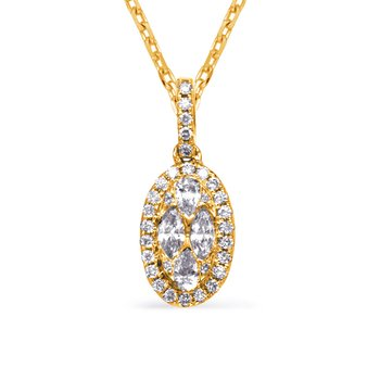 Yellow Gold Diamond Necklance Bezel Set
