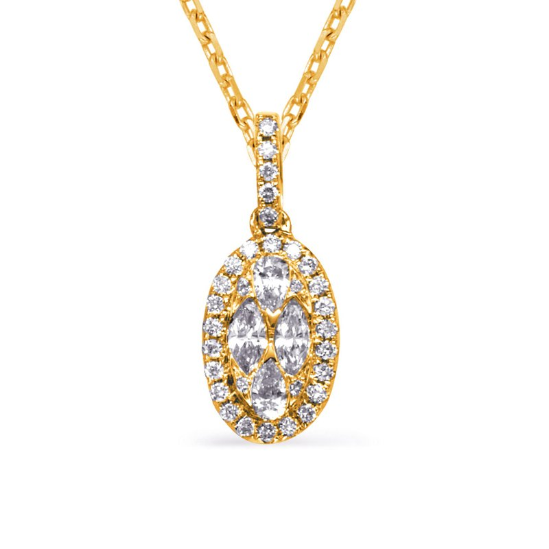 S. Kashi  & Sons Yellow Gold Diamond Necklance Bezel Set