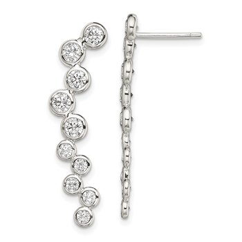 Sterling Silver Bezel CZ Ear Climber Post Earrings