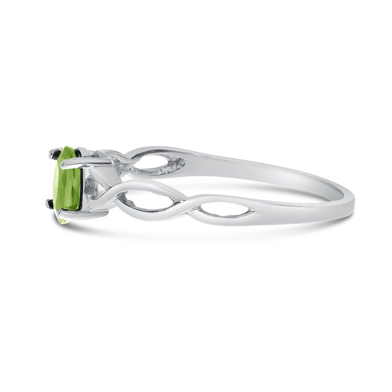 Color Merchants 14k White Gold Oval Peridot Ring