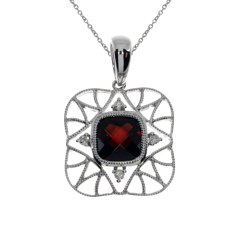 Color Merchants 14k White Gold Open Semi Filigree Garnet Pendant