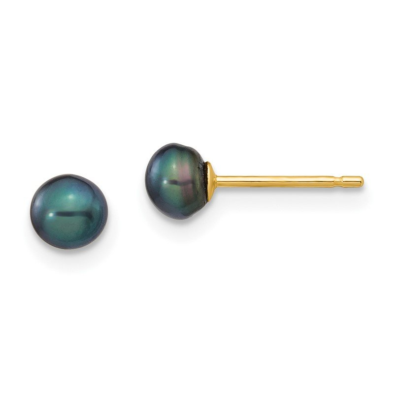 Quality Gold 14k 4-5mm Black Button FW Cultured Pearl Stud Post Earrings