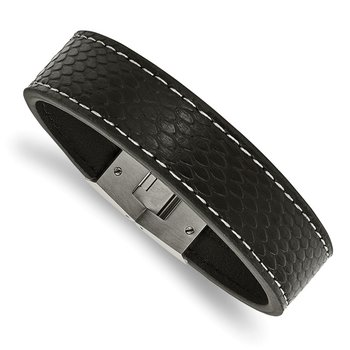 Stainless Steel Polished Black Leather 8in Bracelet