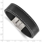Chisel Stainless Steel Polished Black Leather 8in Bracelet