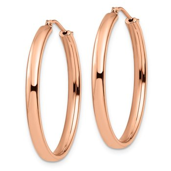 Leslie's Sterling Silver Rose Gold-plated Polished Oval Earrings