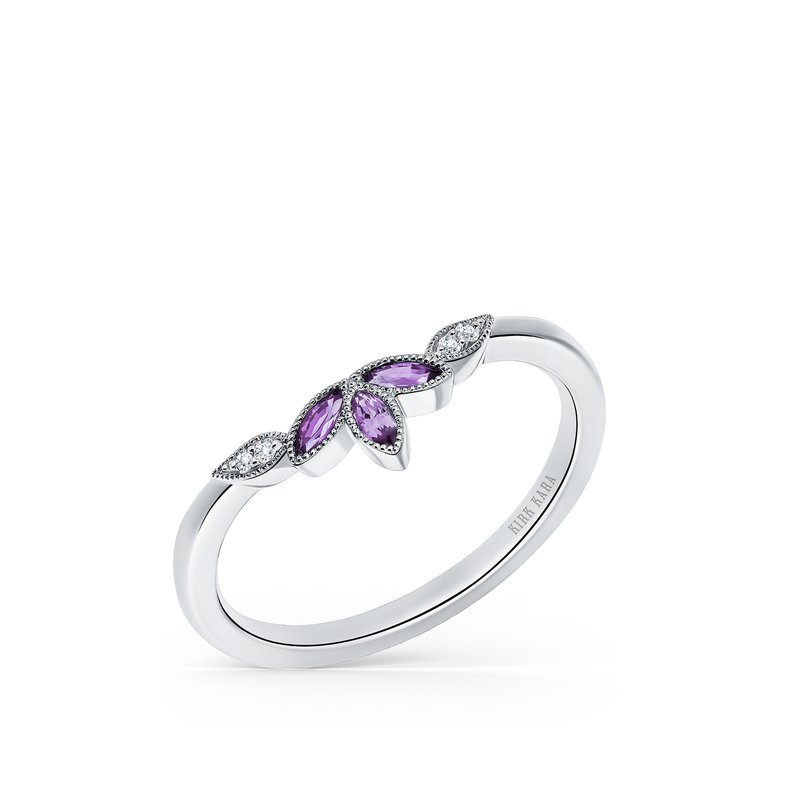 Kirk Kara Amethyst Leaf Diamond Wedding Band