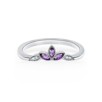 Amethyst Leaf Diamond Wedding Band
