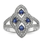Quality Gold SS Rhodium-Plated Blue & Clear CZ Brilliant Embers Ring