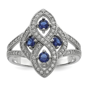 SS Rhodium-Plated Blue & Clear CZ Brilliant Embers Ring