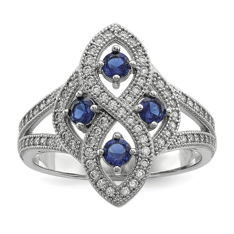 Quality Gold Sterling Silver Blue & Clear CZ Brilliant Embers Polished Ring