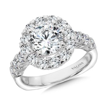 Unique Diamond Halo Engagement Ring