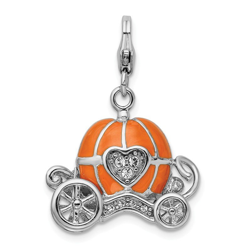Lester Martin Online Collection Sterling Silver RH 3-D Enameled Carriage w/Lobster Clasp Charm