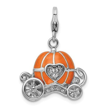 Sterling Silver Amore La Vita Rhod-pl 3-D Enameled Carriage Charm