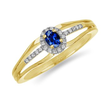 10K YG and diamond and Blue Sapphire halo style birthstone ring