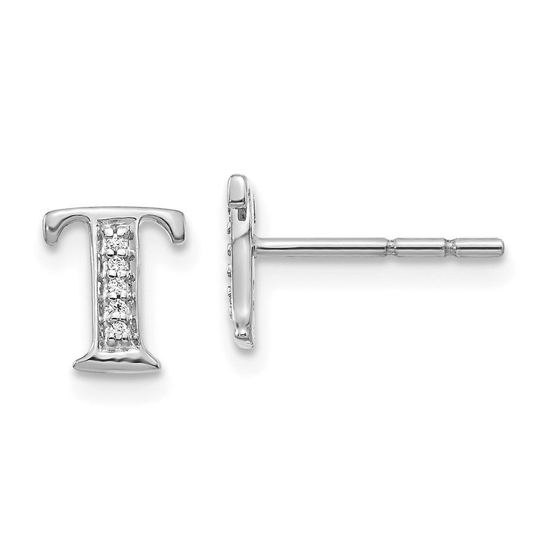 Quality Gold 14k White Gold Diamond Initial T Earrings