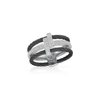 Black Dual Cable Opulence Ring with 18kt White Gold & Diamonds