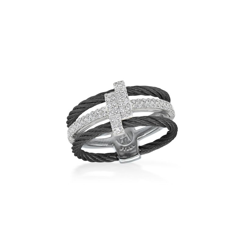 ALOR Black Dual Cable Opulence Ring with 18kt White Gold & Diamonds