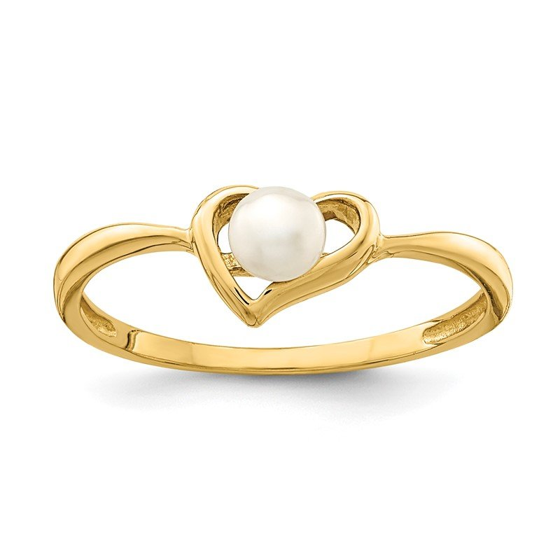 Quality Gold 14K Madi K 3-4mm White Button Freshwater Cultured Pearl Heart Ring