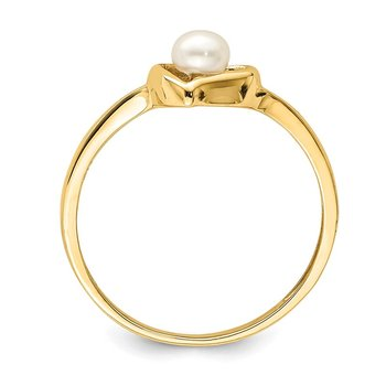 14K Madi K 3-4mm White Button Freshwater Cultured Pearl Heart Ring