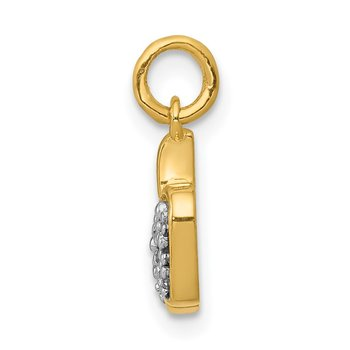 14k White Gold Diamond Apple Charm