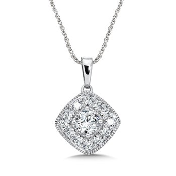 Pave set Diamond Cushion Shaped Halo Pendant, 14k White Gold  (3/4 ct. tw.) HI/I1