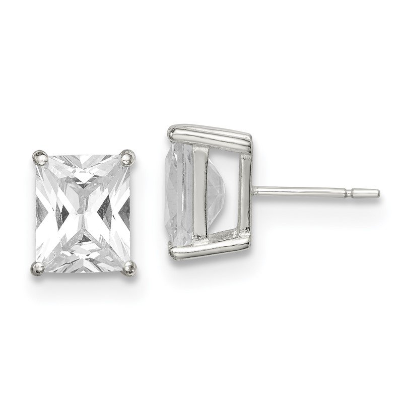 Quality Gold Sterling Silver Emerald-cut 10x8 Basket Set CZ Stud Earrings