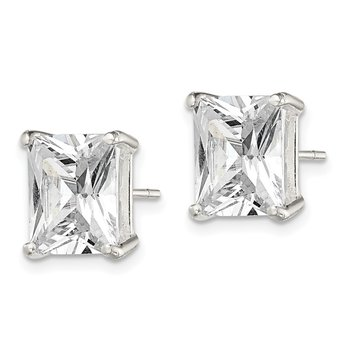 Sterling Silver Emerald-cut 10x8 Basket Set CZ Stud Earrings