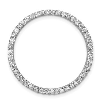 Sterling Silver Rhodium-platedCZ Chain Slide Pendant