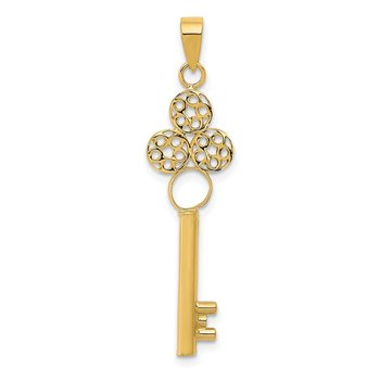 14K Key with Top Open Circle Tube Pendant