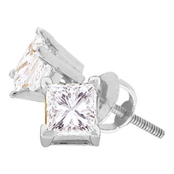14kt White Gold Unisex Princess Diamond Solitaire Stud Earrings 1/6 Cttw