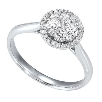 Diamond Halo Round Cluster Ring in 14k White Gold (1/2 ctw)