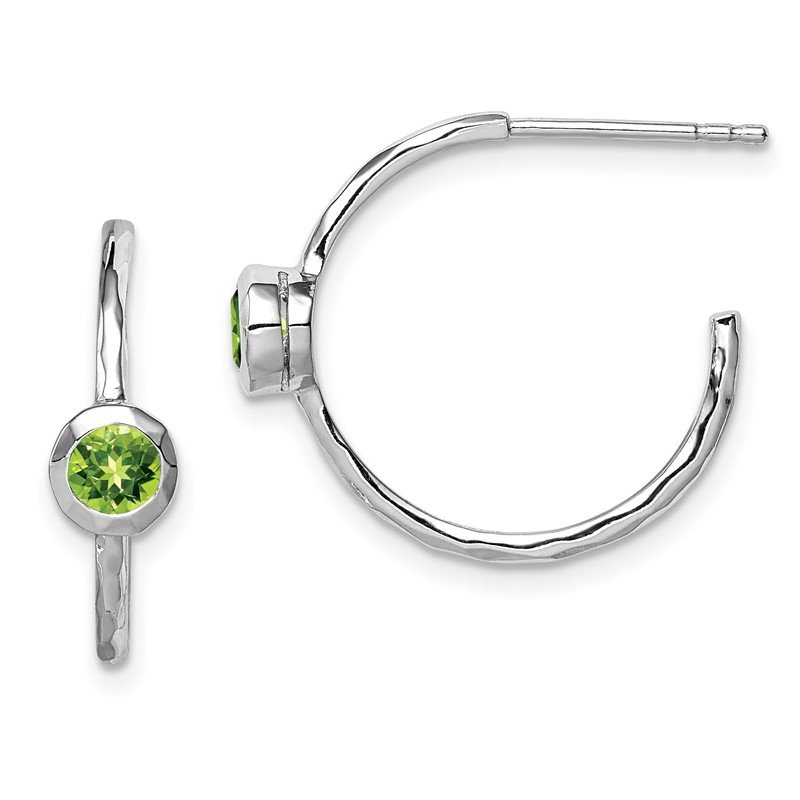 Quality Gold Sterling Silver Rhodium-plated w/Peridot Post Hoop Earrings