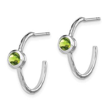 Sterling Silver Rhodium-plated w/Peridot Post Hoop Earrings