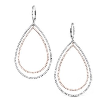 Diamond Double Teardrop Earrings in 14K White and Rose Gold with 354 diamonds weighing 2.24ct tw.