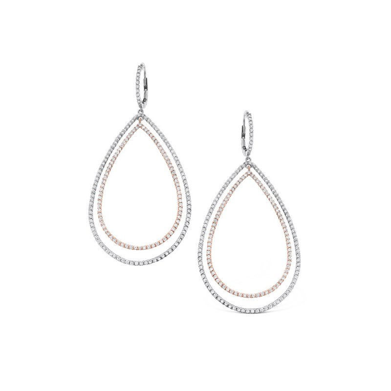 KC Designs Diamond Double Teardrop Earrings in 14K White and Rose Gold with 354 diamonds weighing 2.24ct tw.