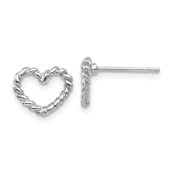 14k White Gold Heart Post Earrings